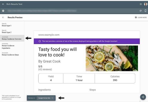 search console recetas guiadas enriquecidos